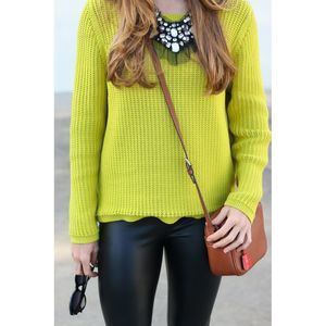 Loft Lime Green Knitted Crew Neck Sweater Women S
